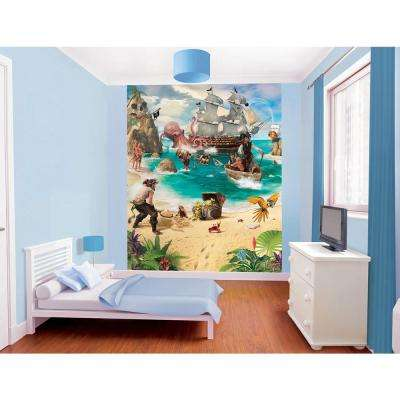 96 in. H x 78 in. W Pirate and Treasure Adventure Wall Mural