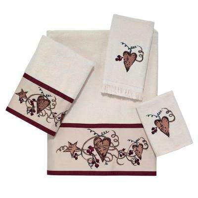 Hearts and Stars 4-Piece Bath Towel Set in Ivory