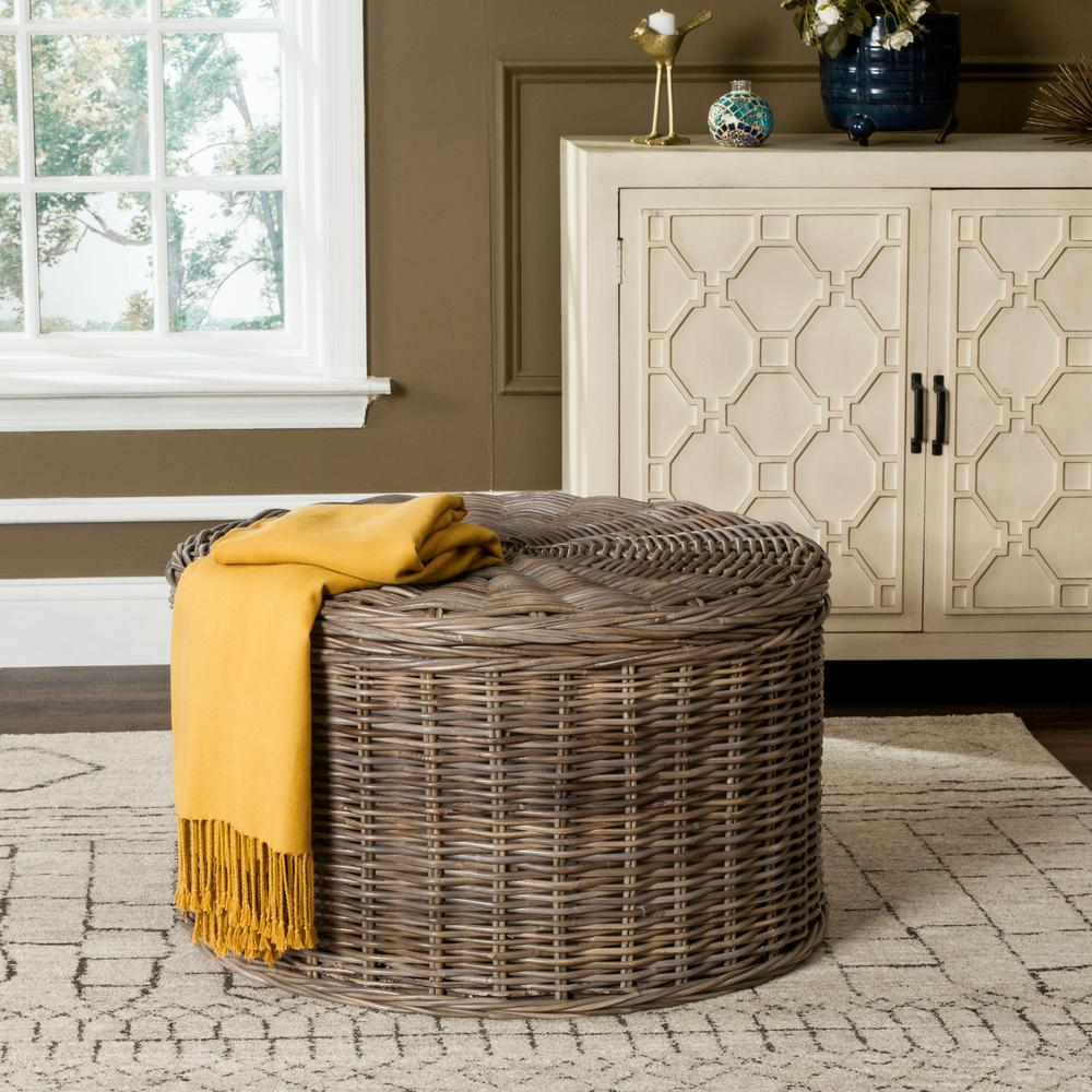 Small Grey Rattan Coffee Table: Safavieh Jesse Wicker Storage Gray Coffee Table-SEA7034B