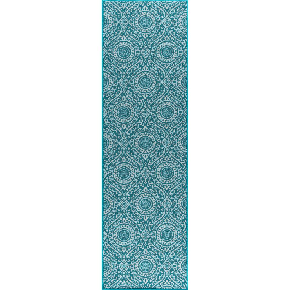 Tayse Rugs Majesty Teal 2 Ft. 3 In. X 11 Ft. Transitional