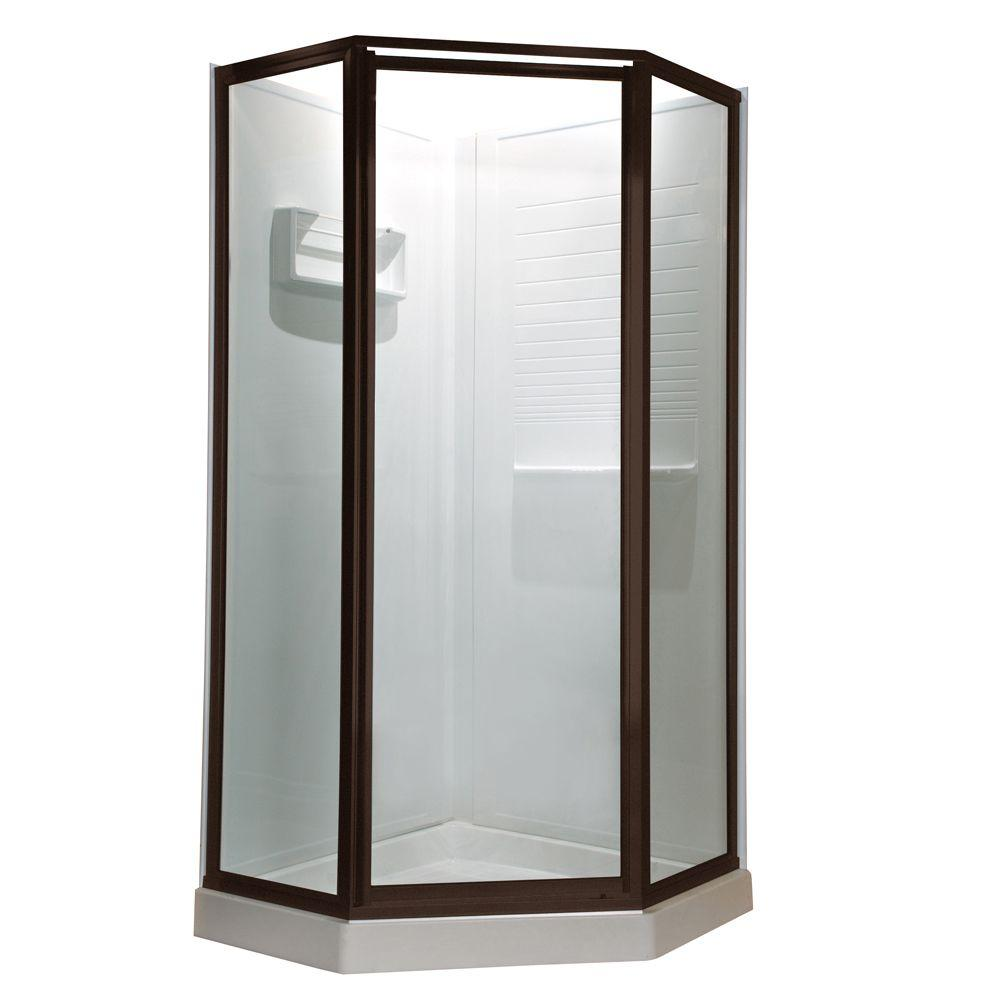 American Standard Prestige 24 in. x 68-1/2 in. Framed Neo-Angle Hinged Shower Door in Oil Rubbed Bronze with Clear Glass