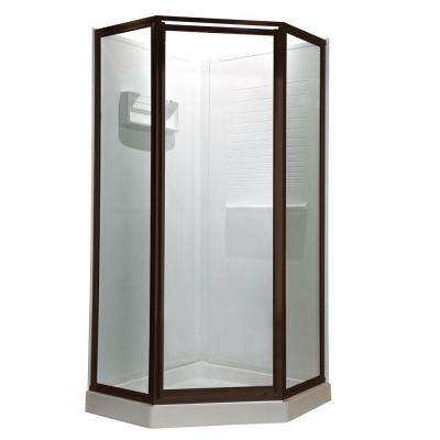 Prestige 24 in. x 68-1/2 in. Framed Neo-Angle Hinged Shower Door in Oil Rubbed Bronze with Clear Glass