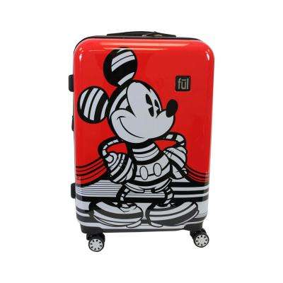 Striped Mickey Mouse 25 in. Red Hard Sided Luggage