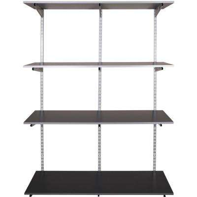FastTrack Garage 4-Shelf 48 in. x 16 in. Laminate Shelving Kit with Rail