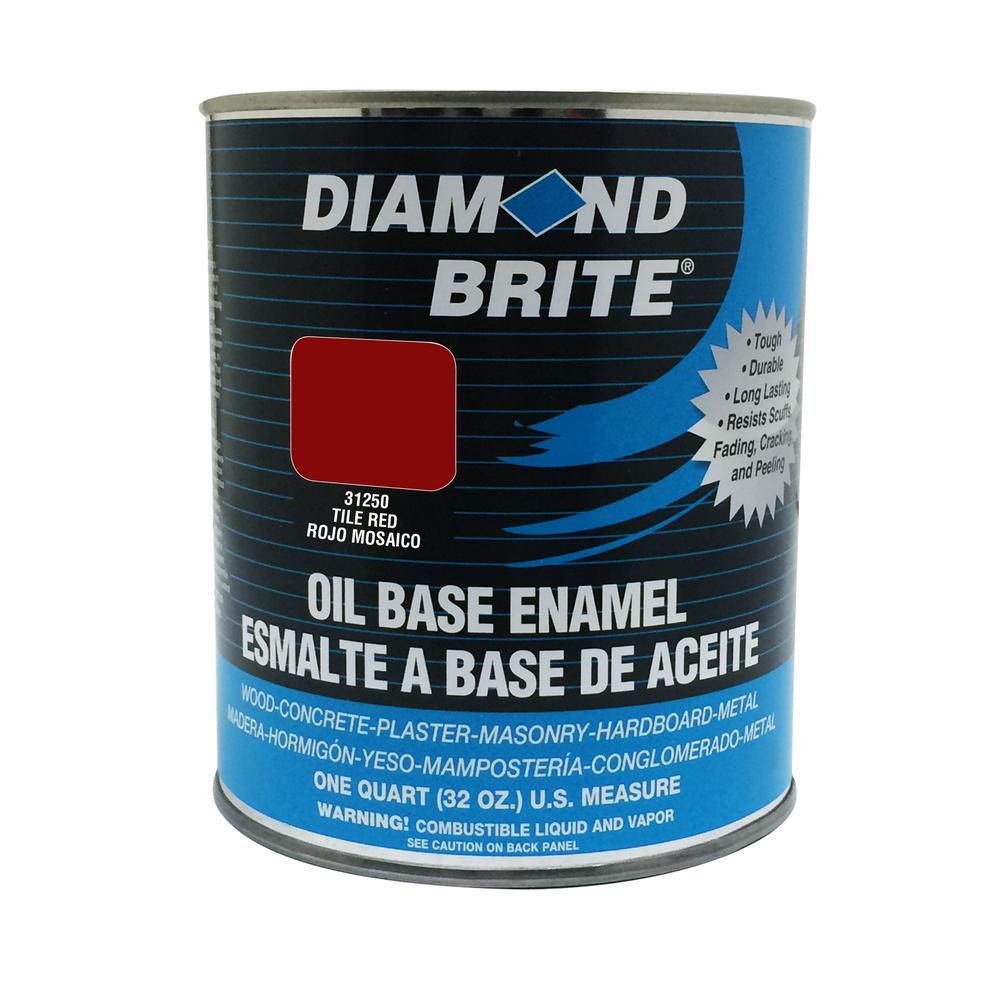 Diamond Brite Paint 1 qt. Tile Red Oil Base Enamel Interior/Exterior Paint