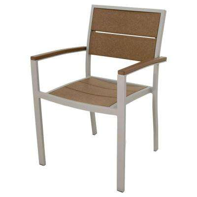 Surf City Textured Silver Patio Dining Arm Chair with Tree House Slats
