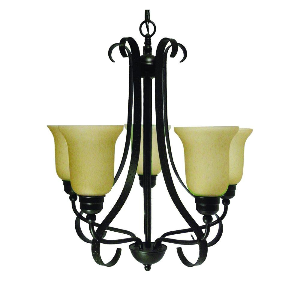 5-Light Old English Bronze Chandelier