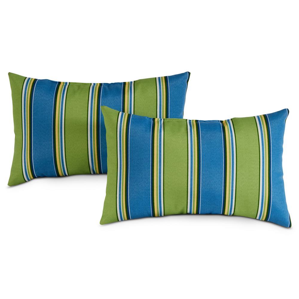 Cayman Stripe Lumbar Outdoor Throw Pillow (2-Pack)
