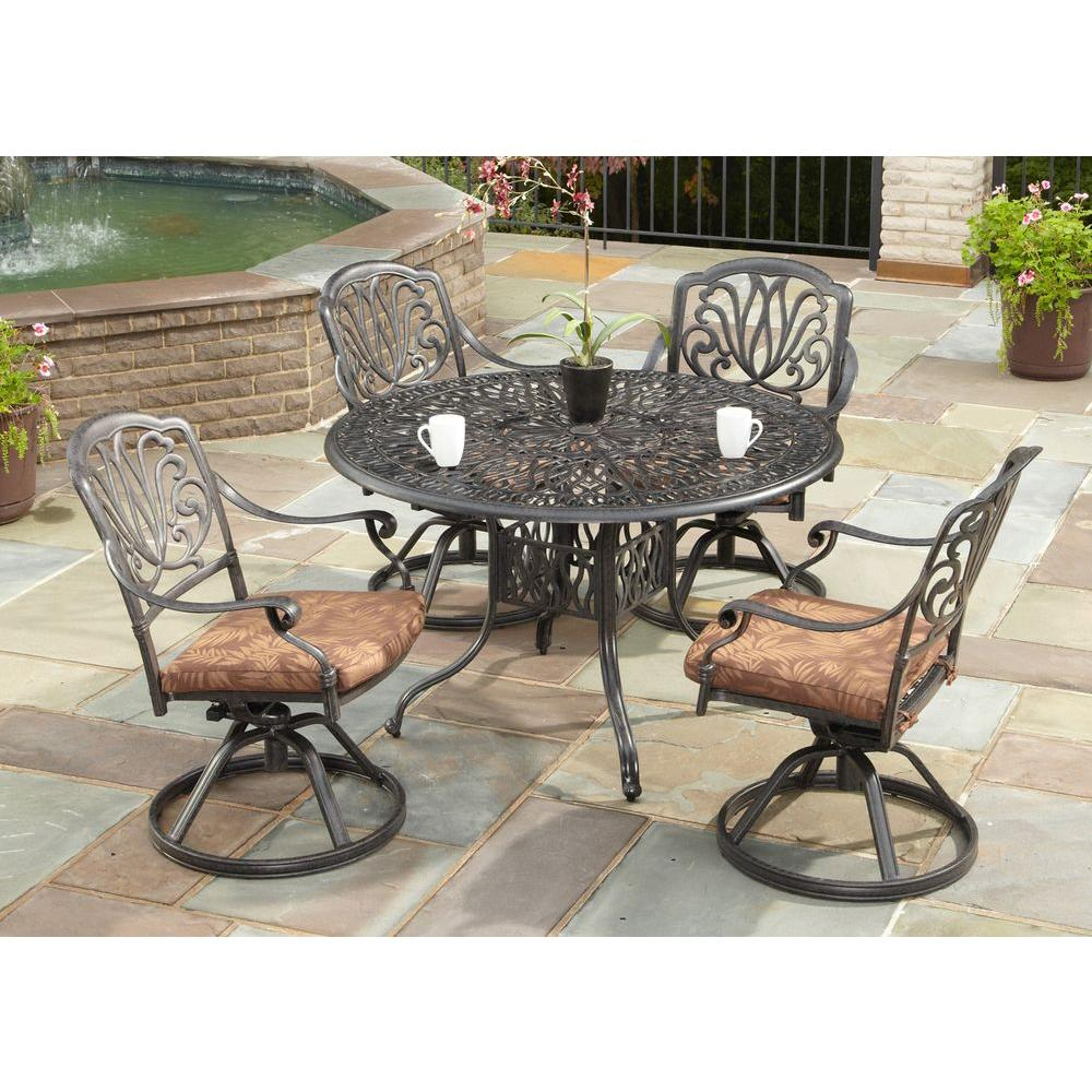 Home Styles Floral Blossom 48 In Round 5 Piece Swivel Patio Dining Set With Burnt Sierra Leaf Cushions