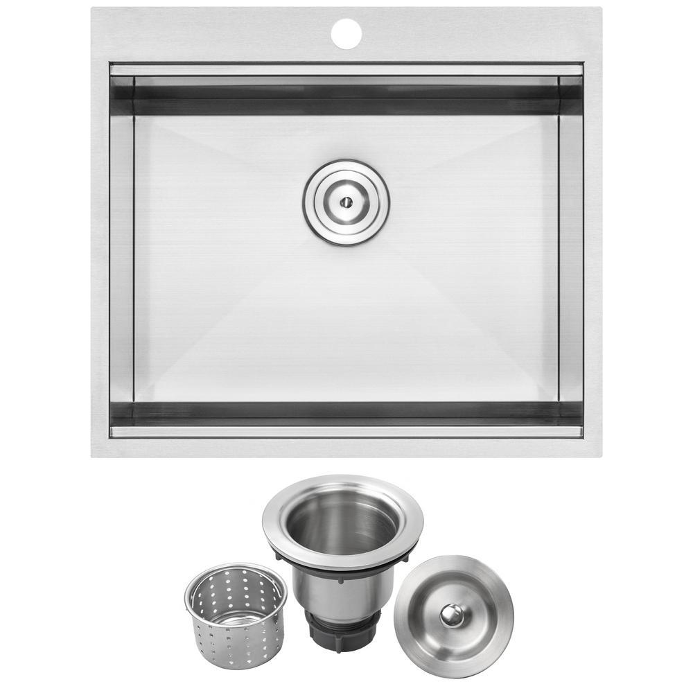 Bradford Zero Radius Drop-In 16-Gauge Stainless Steel 25 in. 1-Hole Single Basin Kitchen Sink with Basket Strainer