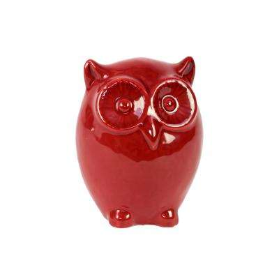 9 in. H Owl Decorative Figurine in Red Gloss Finish
