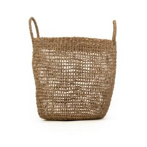 Cylindrical Sparsely Hand Woven Seagrass Large Basket with Handles