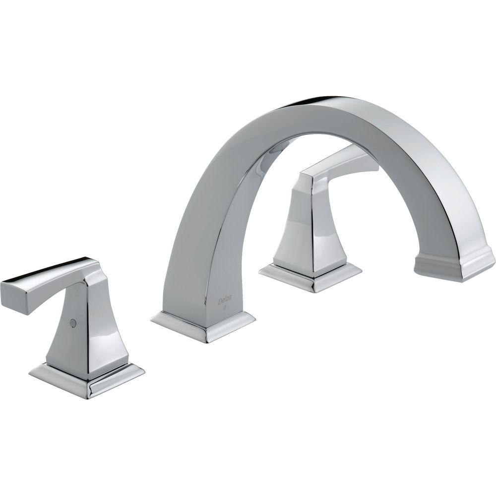 Delta Dryden 2-Handle Deck-Mount Roman Tub Faucet Trim Kit Only in Chrome (Valve Not Included)
