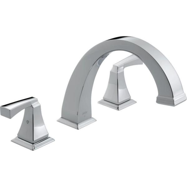Dryden 2-Handle Deck-Mount Roman Tub Faucet Trim Kit Only in Chrome (Valve Not Included)
