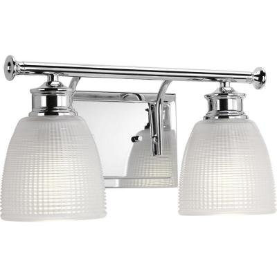 Lucky Collection 14.5 in. 2-Light Polished Chrome Bathroom Vanity Light with Glass Shades