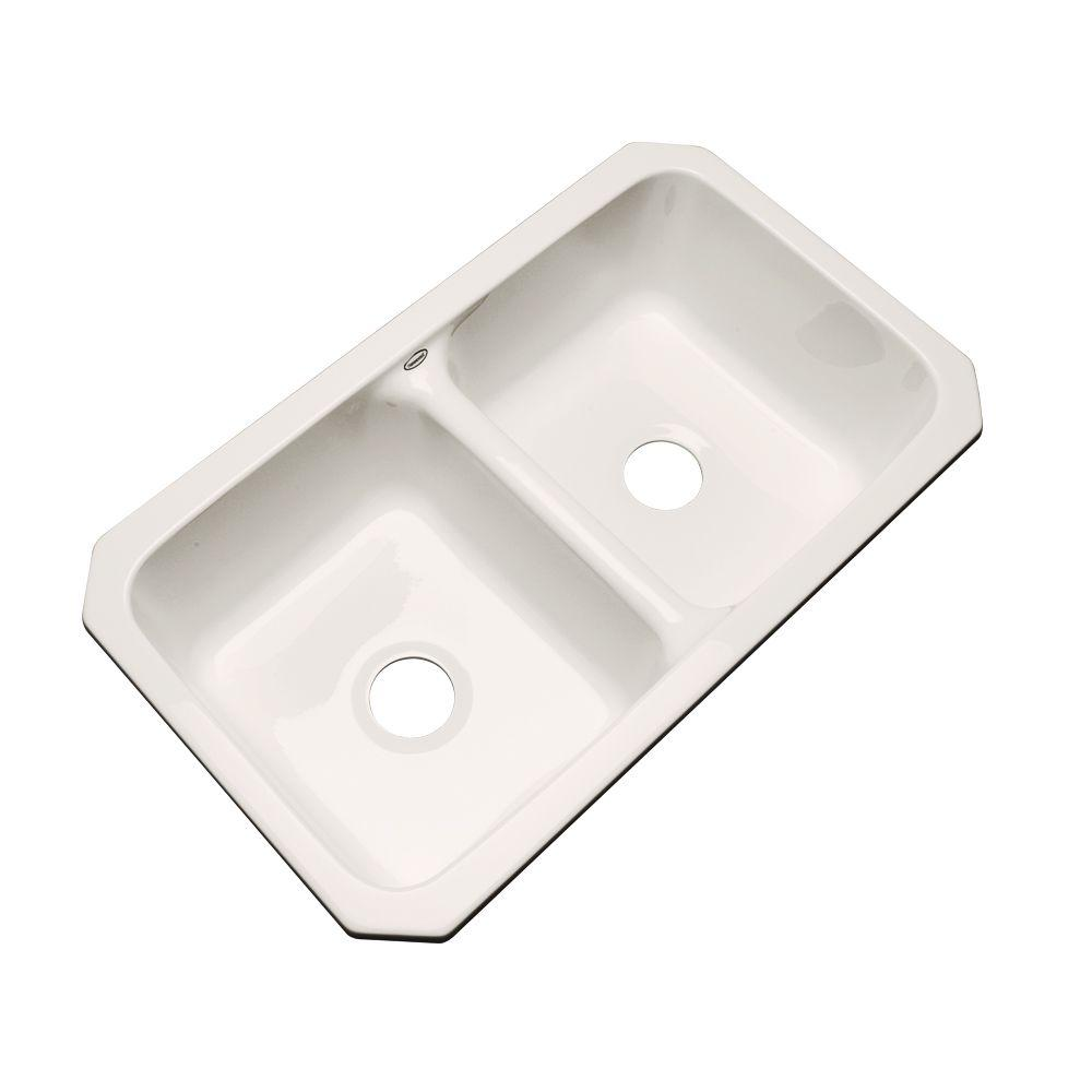 Thermocast Newport Undermount Acrylic 33 in. 0-Hole Double Basin Kitchen Sink in Bone