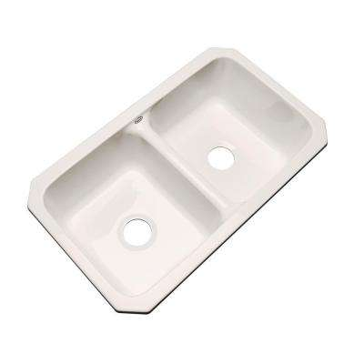 Newport Undermount Acrylic 33 in. 0-Hole Double Bowl Kitchen Sink in Bone