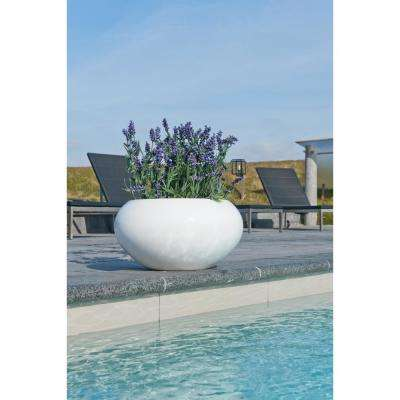 Medium 14.4 in. Tall Glossy White Cora Fiberstone Indoor Outdoor Modern Round Planter Bowl