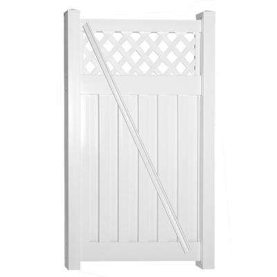 Clearwater 4 ft. W x 5 ft. H White Vinyl Privacy Fence Gate Kit