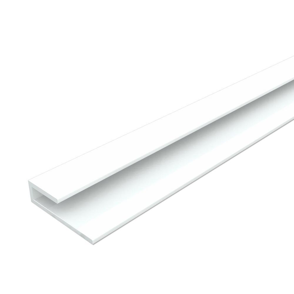 Innovera Decor by Palram J-Trim Edge Profile 0.7 in. W x 48 in. H PVC Backsplash in White (2-Pieces)