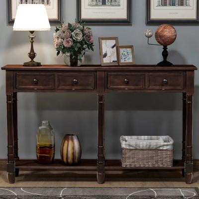 Espresso Console Table with Drawers and Shelf