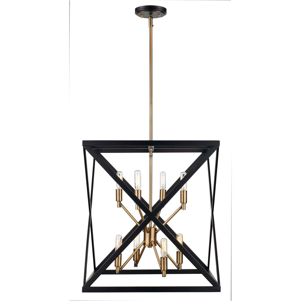 Ackerman 8-Light Rubbed Oil Bronze and Antique Brass Pendant