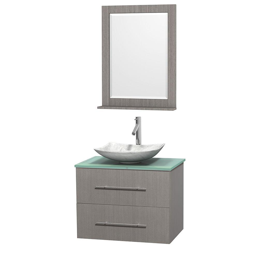 Wyndham Collection Centra 30 in. Vanity in Gray Oak with Glass Vanity Top in Green, Carrara White Marble Sink and 24 in. Mirror