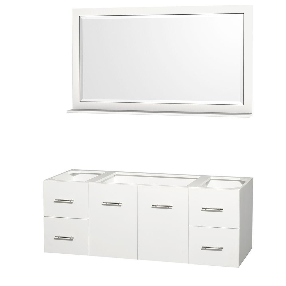 Wyndham Collection Centra 59 in. Vanity Cabinet with Mirror in White