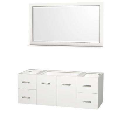 Centra 59 in. Vanity Cabinet with Mirror in White