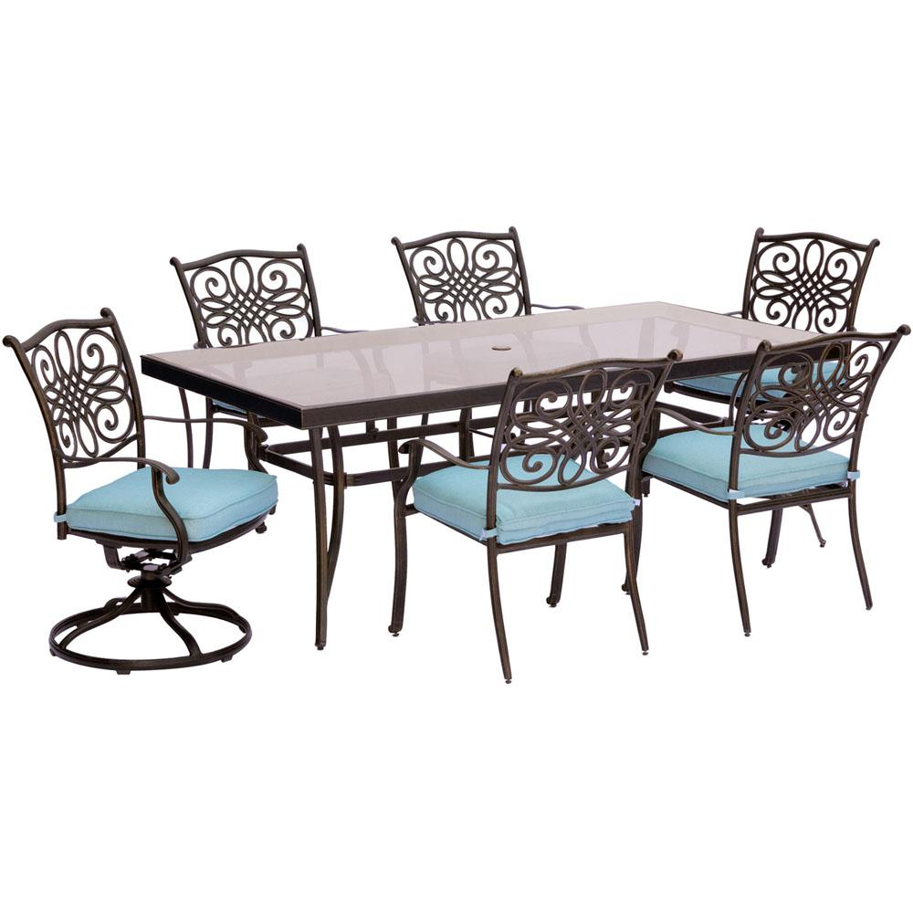 Wondrous Hanover Traditions 7 Piece Aluminum Outdoor Dining Set With Rectangular Glass Table And 2 Swivel Chairs With Blue Cushions Evergreenethics Interior Chair Design Evergreenethicsorg