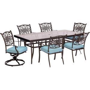 Hanover Traditions 7-Piece Aluminum Outdoor Dining Set with Rectangular Glass Table and 2... by Hanover