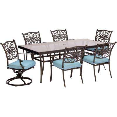 Traditions 7-Piece Aluminum Outdoor Dining Set with Rectangular Glass Table and 2 Swivel Chairs with Blue Cushions