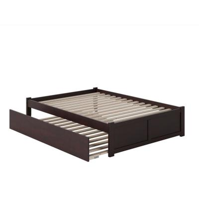Concord Full Platform Bed with Flat Panel Foot Board and Full Size Urban Trundle Bed in Espresso