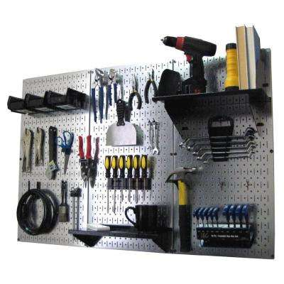 32 in. x 48 in. Metal Pegboard Standard Tool Storage Kit with Galvanized Pegboard and Black Peg Accessories