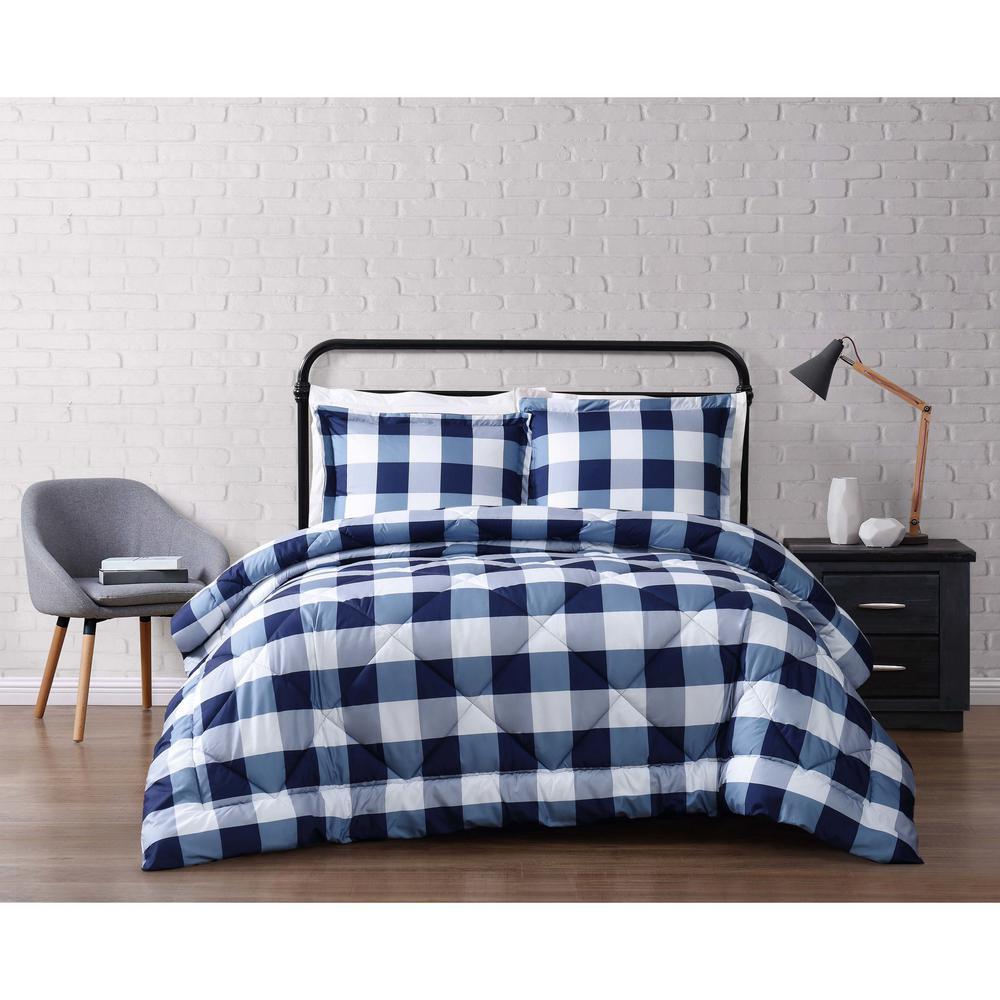 Queen Comforter Sets.Buffalo Plaid Navy Full Queen Comforter Set