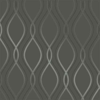 Tear Drop Charcoal and Metallic Silver Self-Adhesive Removable Wallpaper