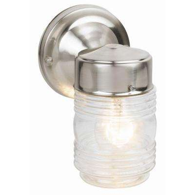 Satin Nickel Outdoor Wall-Mount Jelly Jar Wall Light