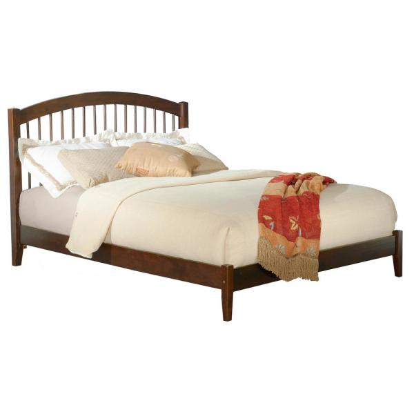 Atlantic Furniture Windsor Queen Platform Bed With Open Foot Board In Walnut