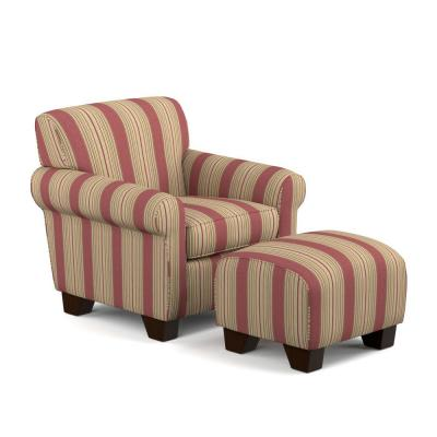 Winnetka Arm Chair and Ottoman in Crimson Red Stripe
