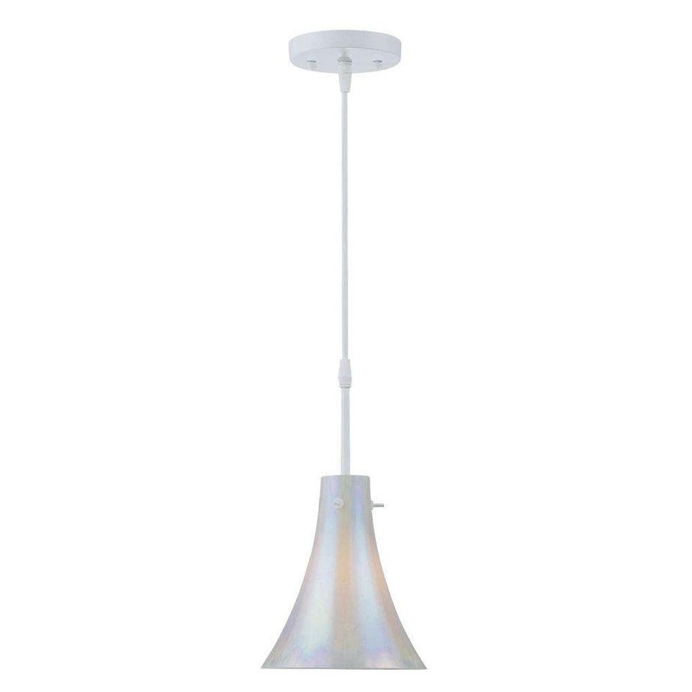 Filament Design 1-Light White Glass Steel Pendant