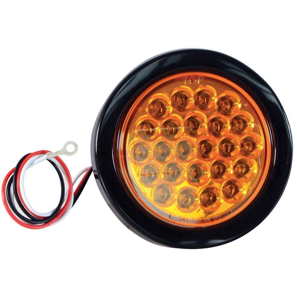 LED 4 in  Round Strobe Light, Amber