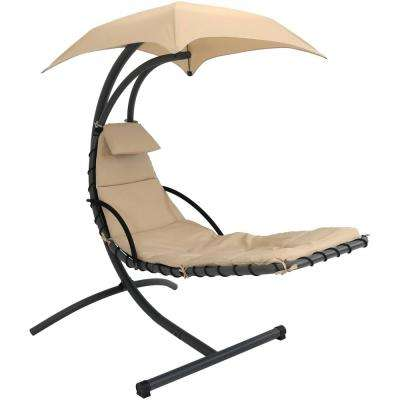 Steel Outdoor Floating Chaise Lounge Chair with Polyester Beige Cushions and Canopy