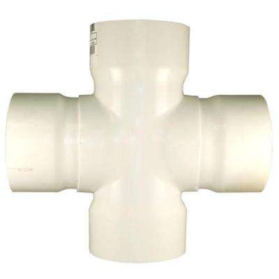 10 in. x 6 in. PVC DWV Cross Tee