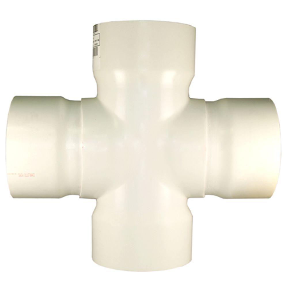 12 in. x 6 in. PVC DWV Cross Tee