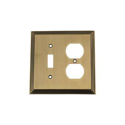 Deco Switch Plate with Toggle and Outlet in Antique Brass