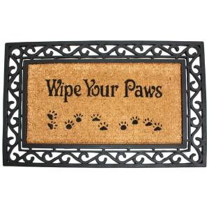 18 inch x 30 inch Coir and Rubber Heavy Wipe Your Paws Door Mat
