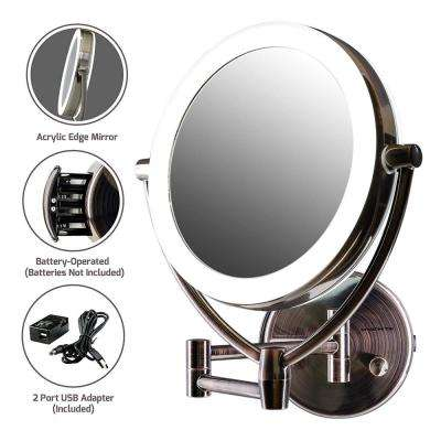 3.5 in. X 13.4 in.  Premium Acrylic Frame Wall Mount Mirror with 1X 10X Magnification, Antique Brass