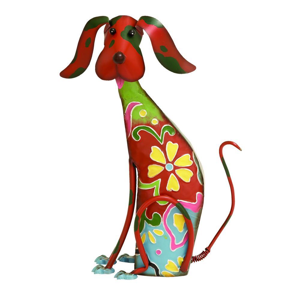 Decorative Multi-Color Iron Metal Dog Sculpture