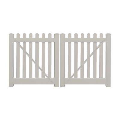 Plymouth 8 ft. W x 4 ft. H Tan Vinyl Picket Double Fence Gate