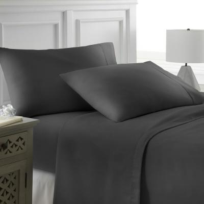 4-Piece Black Solid Microfiber Queen Sheet Set
